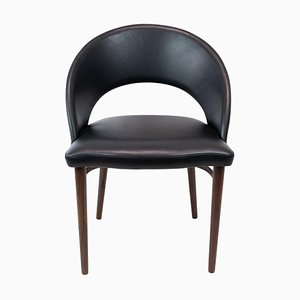 Easy Chair Upholstered with Black Leather and Legs of Rosewood by Chr. Linneberg