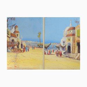 Eugene Gans, on the Nile, Mid-Century Paintings, Set of 2
