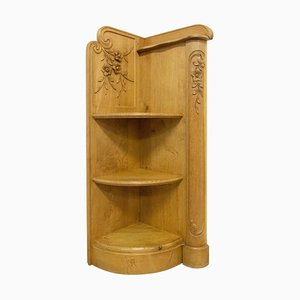 French Art Nouveau Corner Shelves in Oak