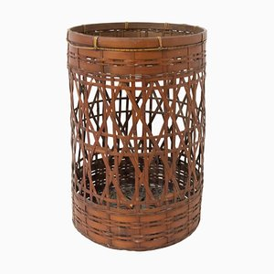 French Bamboo Waste Paper Basket, 1930s