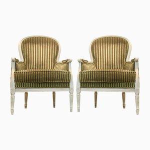 Louis XVI Style Bergère Chairs by Rosello Paris, France, Set of 2
