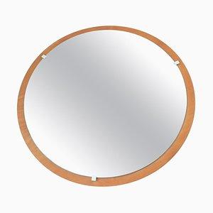 Round Teak Veneer Wall Mirror, Denmark, 1960s