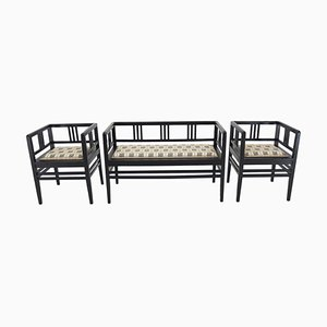 Art Nouveau Sofa and Armchairs, Austria, 1890s, Set of 3