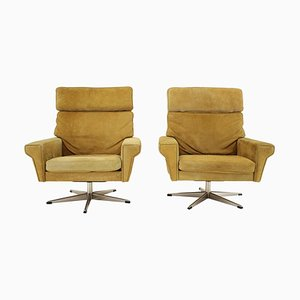 Swivel Chairs in Suede Leather by Georg Thams, Denmark, 1970s, Set of 2