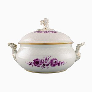 Large Antique Meissen Lidded Tureen In Hand-Painted Porcelain