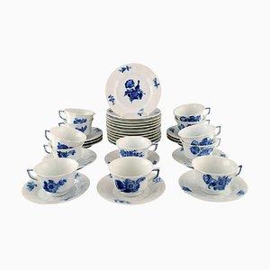 Blaue geneigte Royal Copenhagen Kaffeetassen mit Untertassen und Teller-Set