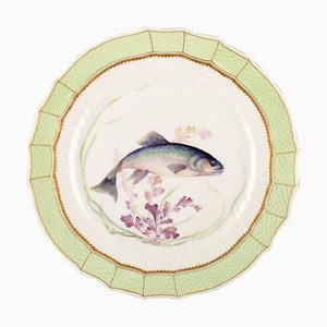 Royal Copenhagen Fish Plate with Green Edge, Gold Decoration and Fish Motif