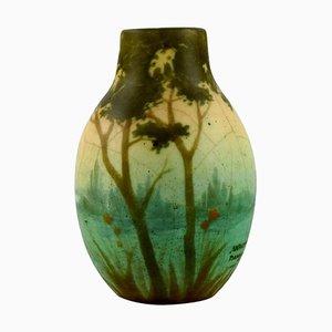 Vase aus Keramik mit Flusslandschaft von Amalric Walter für Nancy