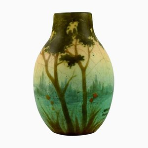 Vase in Ceramic with River Landscape by Amalric Walter for Nancy