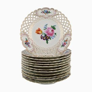 Antique Meissen Openwork Plates in Hand-Painted Porcelain, 1900s