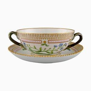 Royal Copenhagen Flora Danica Bouillon Cup with Saucer in Hand-Painted Porcelain