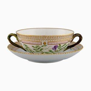 Tasse Bougie Royal Copenhagen Flora Danica avec Soucoupe en Porcelaine Peinte à la Main