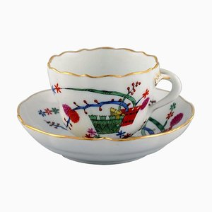 Antique Meissen Coffee Cup with Saucer in Hand-Painted Porcelain, Circa 1900