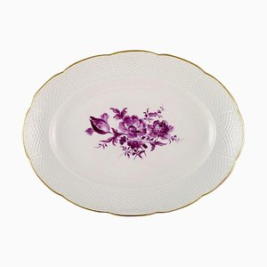 Antique Oval Meissen Serving Dish in Hand-Painted Porcelain with Purple Flowers