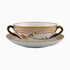 Royal Copenhagen Flora Danica Bouillon Cup with Saucer in Hand-Painted Porcelain