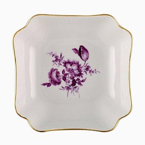 Antique Meissen Bowl in Hand-Painted Porcelain with Purple Flowers