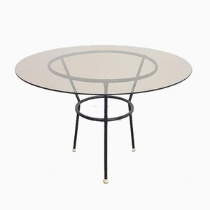 Table basse vintage en verre avec cadre en tube