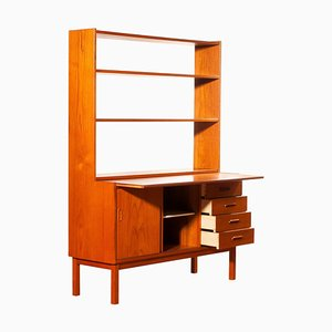 Teak Bookcase with Slidable Writing or Working Space from Sweden, 1960s