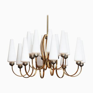 Large Brass Chandelier with Large White Murano Shades, Italy, 1950s