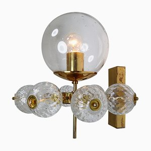 Hotel Wall Chandelier with Brass Fixture, European, 1970s