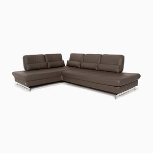 Anthracite Grey-Brown Loft Leather Function Corner Sofa from Joop!
