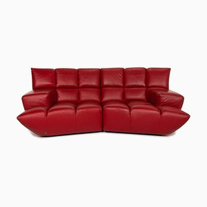 Red Leather Cloud 7 3-Seat Sofa from Bretz