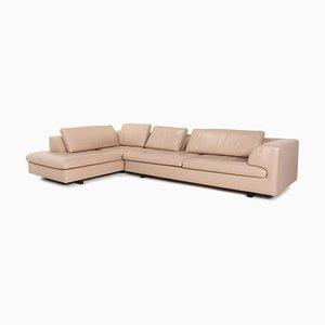 Beige Leather Corner Sofa by Roche Bobois
