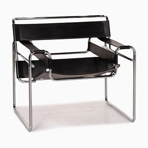 Wassily Black Leather Armchair from Knoll International