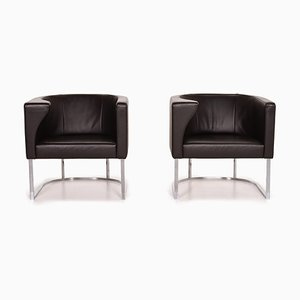 Dark Brown Leather Armchairs from de Sede, Set of 2