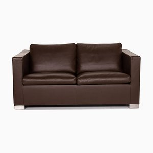 Dark Brown Suitcase Line Leather 2-Seat Sofa from Minotti