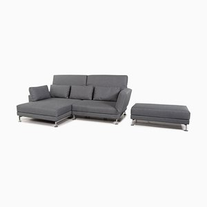 Grey-Blue Moule Fabric Corner Sofa & Stool Set from Brühl & Sippold, Set of 2