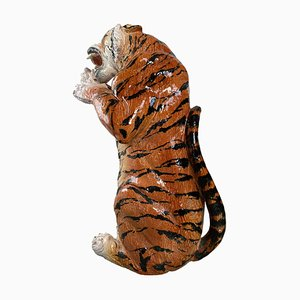 Life Size Tiger Sculpture in Ceramic, Italy, 1970s