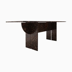 Floating Black and Gold Marble Dining or Conference Table, Italy, 1970s