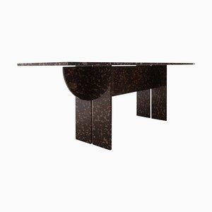 Tavolo da pranzo o da conferenza in marmo nero e dorato, Italia, anni '70
