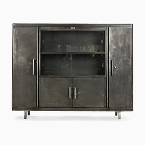 French Industrial Glass Storage Cabinet