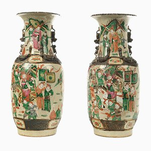 Chinese Vases in Jingdezhen Porcelain, 19th Century, Set of 2