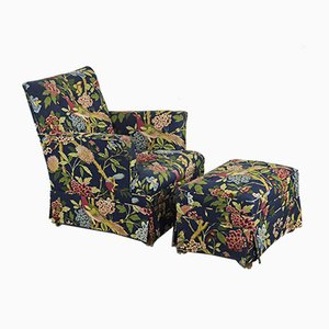 Lounge Armchair with Ottoman in Exclusive GP&J Baker Fabric from Nordiska Kompaniet, Set of 2