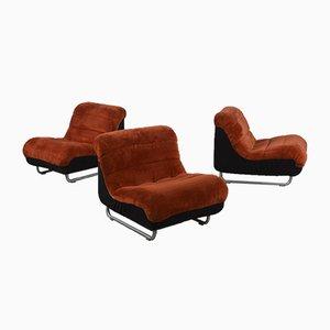 Swedish Mid-Century Teddy Bear Chairs, Set of 3