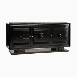 Art Deco Style Black Lacquered & Crystal Top 3-Door Credenza
