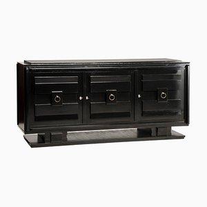 Credenza de 3 puertas con tablero de cristal y lacado negro estilo Art Déco