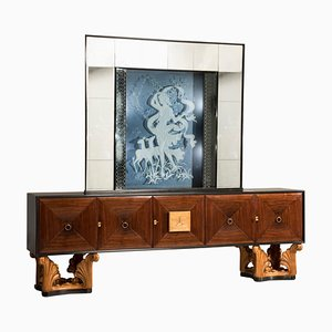 Mid-Century Italian Eclectic Mirrored Credenza and Light Blue Illuminated Mirror