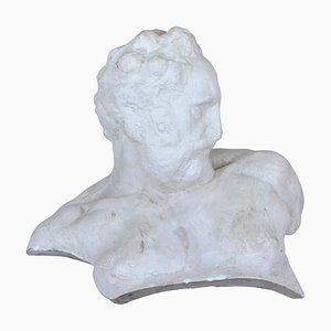 Italian White Plaster Gypsum Bust of Academic Representation Crepuscolo