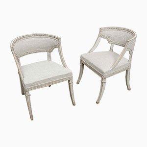 Chaises Peintes Suédoises avec Dossier en Tonneau, Set de 2