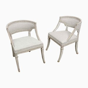 Swedish Painted Chairs with Barrel Backs, Set of 2