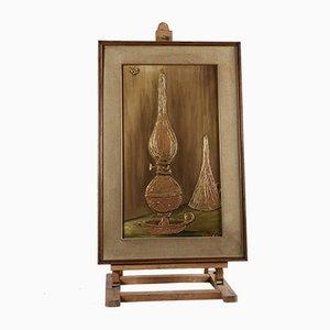 Peinture texturée avec cadre représentant une lampe à huile, Italie, 1970