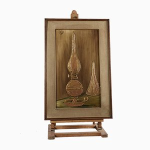 Textured Painting with Frame depicting Oil Lamp, Italy, 1970