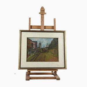 Pintura al óleo sobre lienzo enmarcada, Europa del Norte, 1980