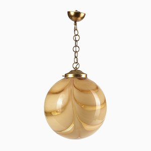 Vintage Glass Sphere Ceiling Lamp with Yellow Stripes, 1970s