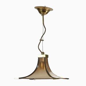 Vintage Deckenlampe aus bernsteinfarbenem Glas, Italien, 1970er