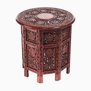 Antiker Viktorianischer Geschnitzter Runder Tisch